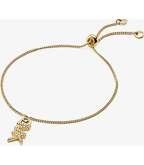 mk braccialetto base con cursore in argento sterling con placcatura in metallo prezioso e logo - oro (oro) - michael kors