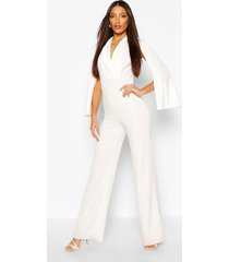 tall cape plunge wide leg jumpsuit, ivory