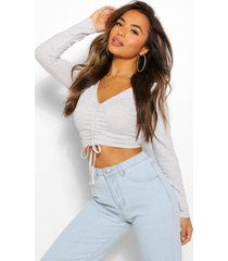 petite basic ruched crop top, grey