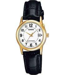 reloj casio ltp_v002gl_7b negro cuero