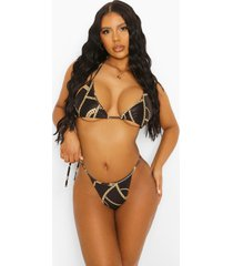 kettingprint driehoekige bikini top met strik, black
