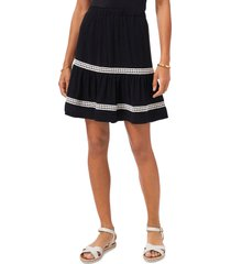 vince camuto crochet stripe crinkle skirt, size x-large in rich black at nordstrom