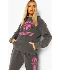 acid wash gebleekte oversized universal hoodie met tekst, charcoal