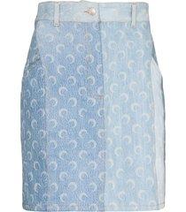 marine serre crescent moon print denim mini skirt - blue