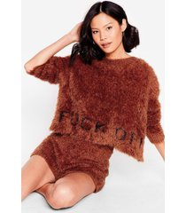womens get the message fluffy knit short lounge set - chocolate