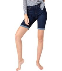 women's liverpool chloe pull-on bermuda shorts, size 14 - blue