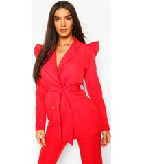 puff shoulder double breasted tailored blazer, red