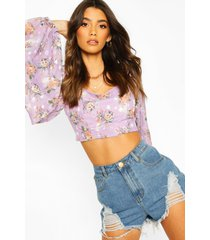 printed dobby off the shoulder top, lilac