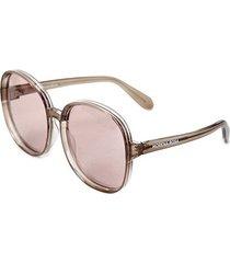 óculos de sol morena rosa redondo detalhe lente