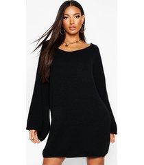 oversized trui jurk met wijde mouwen, zwart