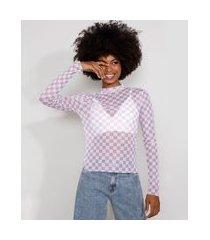 blusa de tule feminina mindset estampada xadrez vichy manga longa gola alta roxa