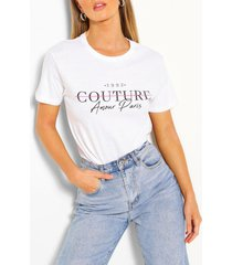 couture t-shirt met print, wit