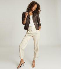 reiss tallis - leather biker jacket in plum, womens, size 10