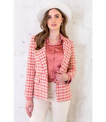 tweed button blazer koraal