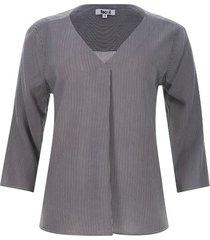 blusa m3/4 a rayas color negro, talla l