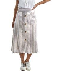 falda aplicación botones beige lorenzo di pontti