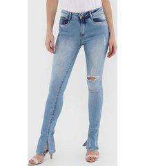 calça jeans my favorite thing(s) bootcut destroyed azul