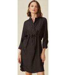 amaro feminino vestido midi com cintura ajustãvel, preto