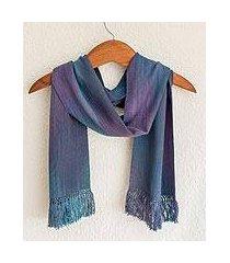 rayon chenille scarf, 'solola sapphire' (guatemala)