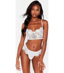 womens something a long those lines bralette and panty set - white