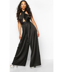 halterneck wide leg culotte jumpsuit, black