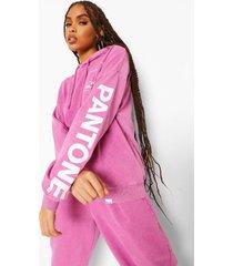 oversized acid wash gebleekte pantone hoodie, gewassen roze