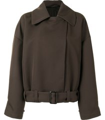 lemaire oversized belted jacket - brown