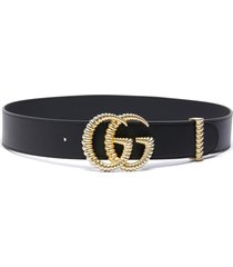 'gg marmont' textured logo buckle leather belt