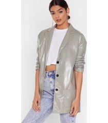 womens vinyl without you oversized jacket - sage