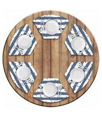 jogo americano love decor  para mesa redonda wevans listras azuis kit com 6 pçs
