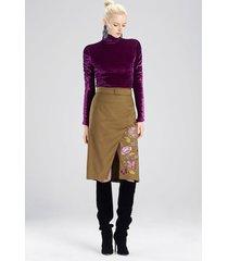 stretch twill skirt, women's, green, size 12, josie natori