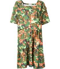 molly goddard camouflage check print midi dress - green