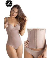 kit body amamentação e cinta modeladora abdominal tivesty chocolate