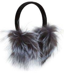 women's kyi kyi genuine fox fur earmuffs - metallic
