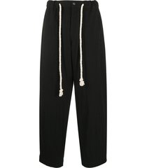 ann demeulemeester drawstring loose-fit trousers - black