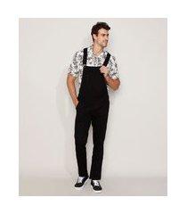 macacão de sarja masculino com bolsos preto