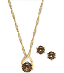 charter club crystal pendant necklace and earrings set in fine silver plate or gold plate, created for macy's