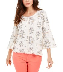 style & co petite cotton crochet-trim floral-print top, created for macy's