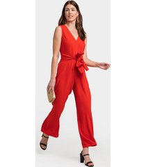 owen jacquard front tie jumpsuit - red