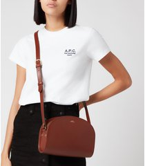 a.p.c. women's demi-lune crossbody bag - brown