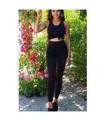 trendy 2 piece-set basic top + hoge taille leggings zwart