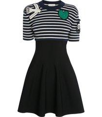 alexander mcqueen crochet patches knit mini dress