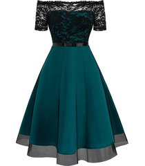 lace bodice off the shoulder semi formal dress