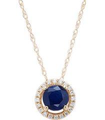 saks fifth avenue women's 14k yellow gold, sapphire & diamond pendant necklace