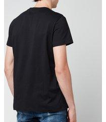 balmain men's flock logo t-shirt - black/blue - l