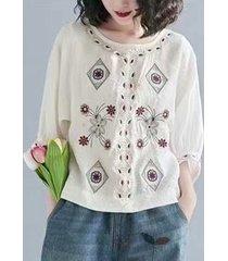 camicetta allentata manica 3/4 lunghezza ricamo fiore tribale o-collo