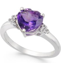 amethyst (1-3/4 ct. t.w.) & diamond (1/20 ct. t.w.) heart ring in 14k white gold