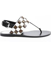 louis vuitton matchmake sandals black white leather monogram thong sz 38.5 black/white/monogram sz: 8