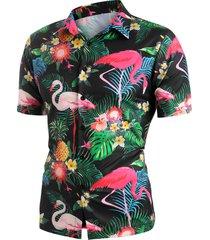 flamingo tropical plant print beach shirt