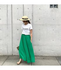 sk78 womens boho chiffon pleated maxi long skirt in pastel colors full length